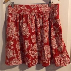Lined floral print skirt